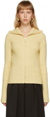 Bottega Veneta Yellow Knit Zip-Up Sweater