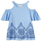 Girls 7-16 Rewind Cold Shoulder Printed Embroidery Border Top