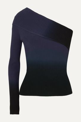 Altuzarra Padma One-sleeve Dégradé Ribbed-knit Top - Blue