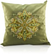 Gisy Tree Mandala Embroidered Moss Green Canvas Pillow
