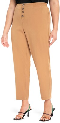 ELOQUII Button Fly Twill Ankle Pants