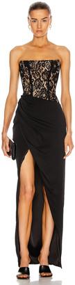 Rasario Asymmetric Lace Corset Gown in Black | FWRD