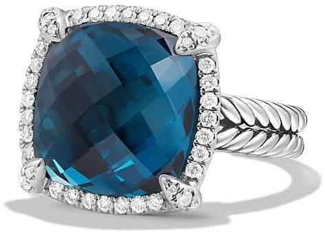 David Yurman Ch'telaine Pavé Bezel Ring with Hampton Blue Topaz and Diamonds