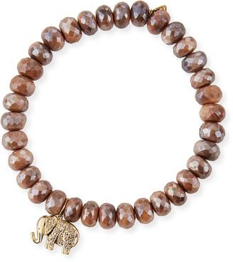 Sydney Evan 14k Diamond Elephant & Australian Moonstone Bracelet