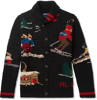 Polo Ralph Lauren Shawl-Collar Wool-Blend Jacquard Cardigan