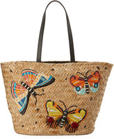 Franchi Collection Embroidered Straw Flutter Tote, Neutral