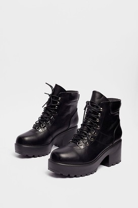 Nasty Gal Womens Walk On By Lace-Up Platform Boots - Black - 5, Black