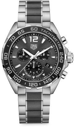 Tag Heuer Formula 1 43MM Stainless Steel & Ceramic Quartz Tachymeter Chronograph Bracelet Watch