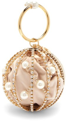 Rosantica Chloe Faux Pearl And Crystal-embellished Bag - Gold Multi