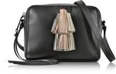 Rebecca Minkoff Black Leather Mini Sofia Crossbody Bag w/Metallic Tassels