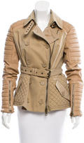 Burberry Leather-Paneled Trench Jacket