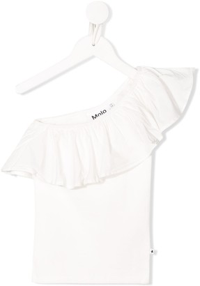 Molo Kids Ruffle Trim Off-Shoulder Knitted Top