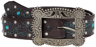 M&F Western 1.5 Floral Embossed w/ Stud and Turquoise Studs Belt (Chocolate/Turquoise) Women's Belts