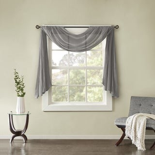 Madison Home USA Kaylee Solid Lightweight Crushed Sheer Curtain Scarf