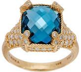Judith Ripka 14K Gold London Blue Topaz &Diamond Ring