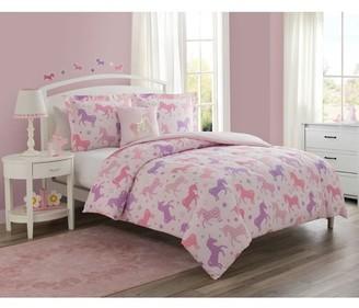 Cloud9 Unicorn Starlight 3-Piece Comforter Set with Decorative Pillow Featuring Bonus Decals