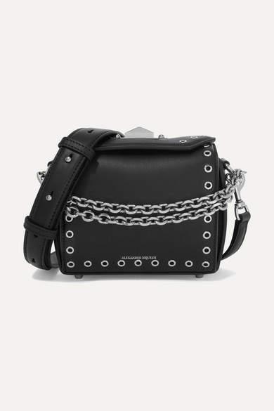 Alexander McQueen Box Bag 19 Embellished Leather Shoulder Bag - Black
