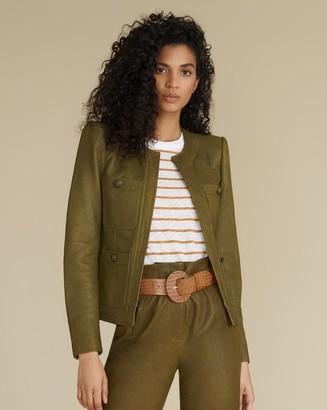 Veronica Beard Shanti Collarless Leather Jacket