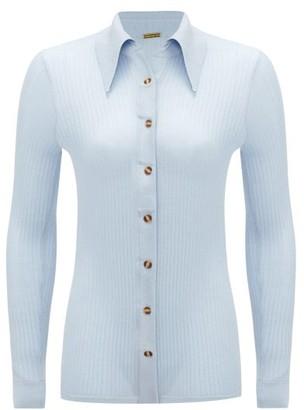 Dodo Bar Or Paya Rib-knitted Silk Shirt - Light Blue