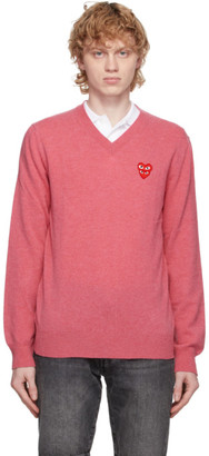 Comme des Garcons Pink Double Heart V-Neck Sweater