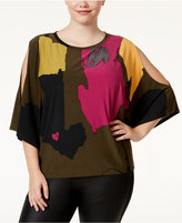 Rachel Roy Trendy Plus Size Cold-Shoulder Poncho Top