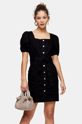 Topshop Womens Black Denim Button Through Puff Sleeve Dress - Washed Black