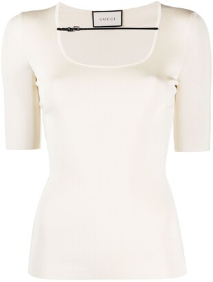 Gucci buckle-strap ribbed T-shirt