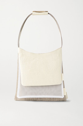 STAUD Charlie Triple Convertible Canvas, Mesh And Croc-effect Leather Tote - White