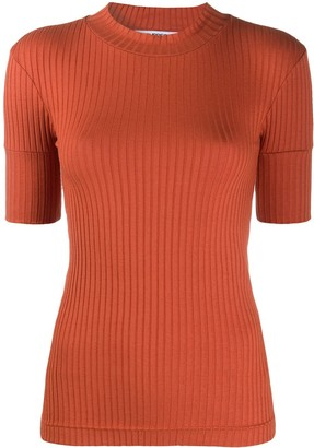 Courreges Ribbed Three-Quarter Sleeve Top