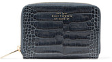 Smythson Mara Croc-effect Leather Wallet - Storm blue