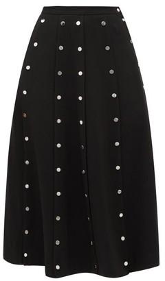 Christopher Kane Snap-embellished Stretch-crepe Midi Skirt - Black
