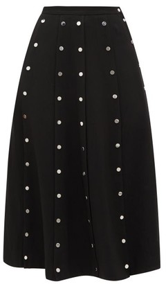 Christopher Kane Snap-embellished Stretch-crepe Midi Skirt - Womens - Black