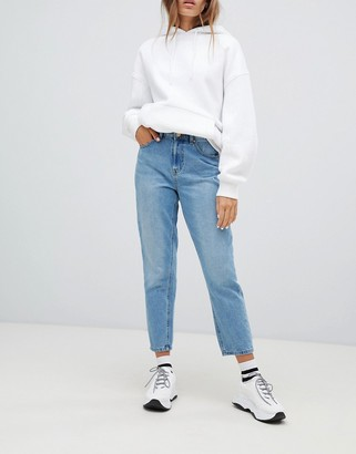 Only high waist distressed mom jean in blue