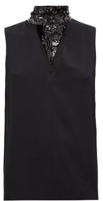 Galvan Cortado Sequinned Neck-tie Crepe Top - Black