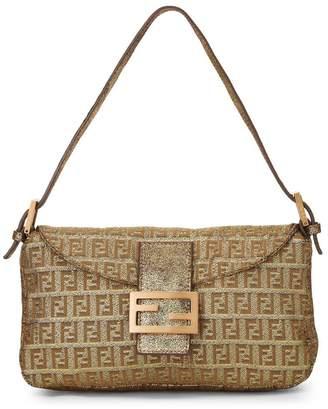 Fendi Gold Lurex Zucchino Canvas Shoulder Bag