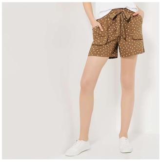 Joe Fresh Women's Print Utility Shorts, Brown (Size M)