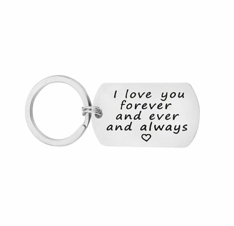 Aimsie Key Fob I Love You Forever and Ever and Always Key Chain Decoration Silver Stainless Steel Key Pendant Gift with Free Engraving