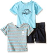 U.S. Polo Assn. Boys' 3 Piece Set, Two T-Shirts and Denim Short