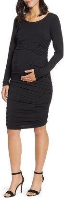Angel Maternity Long Sleeve Ruched Body-Con Maternity Dress