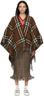 Burberry Reversible Brown Wool Poncho