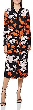 Reiss Cathleen Floral Print Midi Shirt Dress