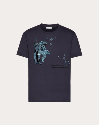 Valentino Infinite City T-shirt Man Navy 100% Cotone L