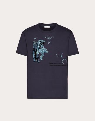 Valentino Infinite City T-shirt Man Navy 100% Cotone M
