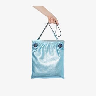 Ganni Blue Metallic Leather Tote Bag
