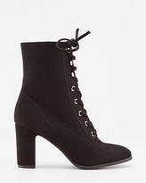 Le Château Faux Suede Round Toe Lace-Up Ankle Boot