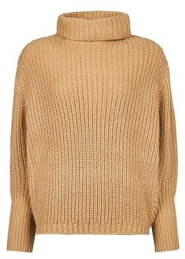 Dorothy Perkins Womens Camel Chunky Batwing Sleeve Roll Neck Jumper, Camel