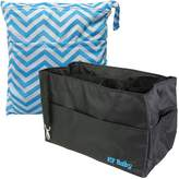 "KF Baby Diaper Bag Insert Organizer 12"" (Black) + Diaper Wet Dry Bag Value Combo"