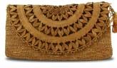 Elise Brown Raffia Lace Clutch Bag