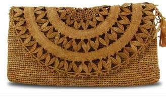 Maraina London Elise Brown Raffia Lace Clutch Bag