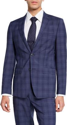 Michael Kors Men's Slim-Fit Check Two-Piece Suit, Blue